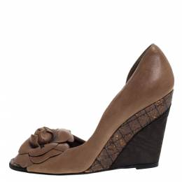 Chanel Brown Leather, Cork And Moire Fabric Peep Toe D'Orsay Wedge Pumps Size 37 321584
