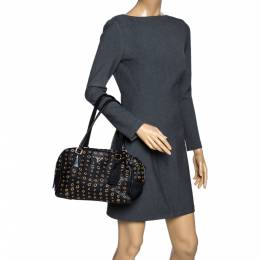 Prada Black Leather Grommet Bauletto Bag 320623
