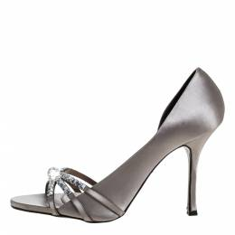 Le Silla Grey Satin Crystal Embellished Strappy Sandals Size 38.5 320752