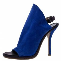 Balenciaga Blue Suede And Black Leather Glove Open Toe Slingback Sandals Size 37.5 321360