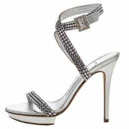 Metallic Silver Crystal Embellished Leather Cross Ankle Strap Sandals Size 35 319465 Gina