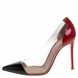 Gianvito Rossi Red/Black Patent Leather and PVC Plexi Pointed Toe Pumps Size 37 320231