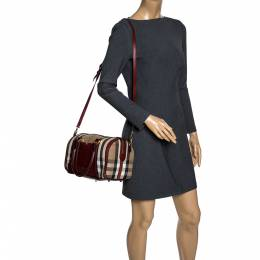 Burberry Beige/Copper House Check Canvas and Leather Sartorial Bowler Bag 320309