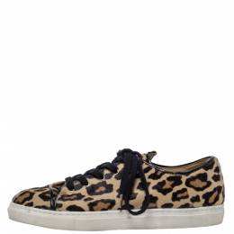 Charlotte Olympia Beige Leopard Print Pony Hair Purrfect Low Top Sneakers Size 37 321261