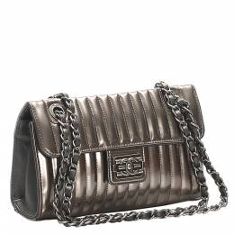 Chanel Silver Stitch Leather Patent Leather Shoulder Bag 319669
