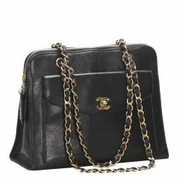 Chanel Black Caviar Leather Vintage Tote Bag 319797