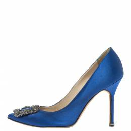 Manolo Blahnik Bllue Satin Hangisi Crystal Embellished Pumps Size 38.5 319163