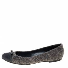 Louis Vuitton Grey Suede and Tweed Ballet Flats Size 40 320918