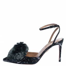 Aquazzura Black Brocade Fabric Powder Puff Ankle Strap Sandals Size 37 322827