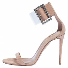 Aquazzura Beige Suede And PVC Casablanca Crystal Embellished Ankle Cuff Sandals Size 38.5 322822