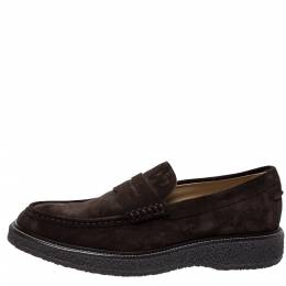 Tod's Brown Suede Leather Penny Loafers Size 44 322756