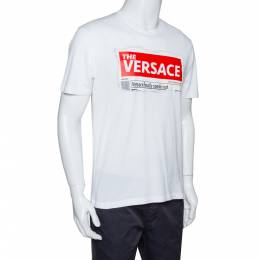 Versace White Cotton Logo Graphic Print Crew Neck Fitted T Shirt L 321413