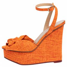 Charlotte Olympia Neon Orange Canvas Bow Ankle Wrap Wedge Sandals Size 37.5 320329
