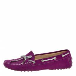 Tod's Fuschia Pink Suede Leather Bow Slip On Loafers Size 37.5 320986