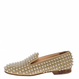 Christian Louboutin Beige Rollerboy Spikes Smoking Slippers Size 35 321420