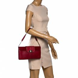 Cartier Red Leather and Python Classic Feminine Line Shoulder Bag 322606