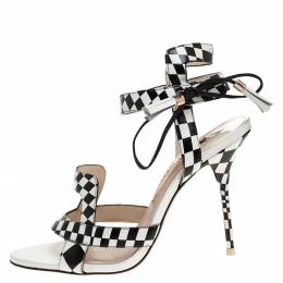 Sophia Webster Monochrome Checkered Leather Poppy Ankle Wrap Sandals Size 38 318605