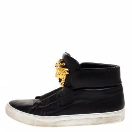 Versace Black Leather Palazzo Medusa High Top Sneakers Size 40 316262