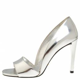 Prada Metallic Silver Leather Open Toe D'Orsay Sandals Size 37 318806