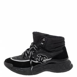 Chanel Black Nylon And Suede High Top Lace Up Sneakers Size 36 315927