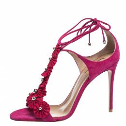 Aquazzura Magenta Suede Exotic Ankle Wrap Sandals Size 38 315282
