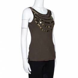 Joseph Olive Green Silk Sequin Embellished Sleeveless Top S 317084