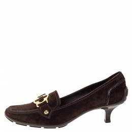 Louis Vuitton Brown Suede Leather Loafer Pumps Size 39.5 318170