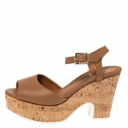 Fendi Brown Leather Cork Wedge Platform Ankle Strap Sandals Size 37.5 317183