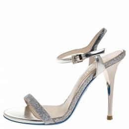 Loriblu Silver Leather And Glitter Ankle Strap Sandals Size 36 317464