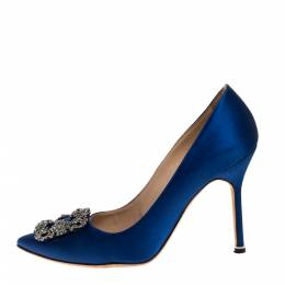 Manolo Blahnik Blue Satin Hangisi Crystal Embellished Pumps Size 38.5 317194