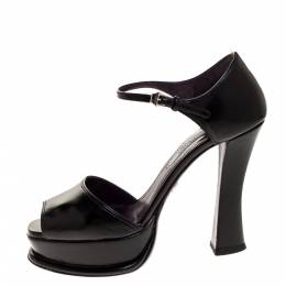 Prada Black Leather Platform Ankle Strap Sandal Size 38 315825