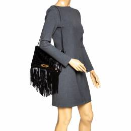 Jimmy Choo Black Python and Suede Fringe Tita Convertible Clutch 318542