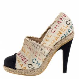 Chanel White Logo Printed Canvas And Black Cap Toe Espadrilles Clogs Size 38.5 315965