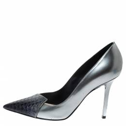 Dior Metallic Silver/Blue Leather Cannage Cap Toe Spade Pumps Size 38 316793