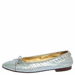 Chanel Silver Python Leather CC Bow Ballet Flats Size 38.5 318364