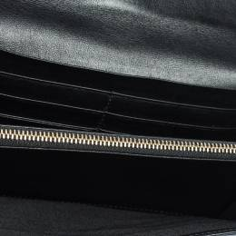 Bvlgari Black Leather Double Ring Flap Continental Wallet 317304