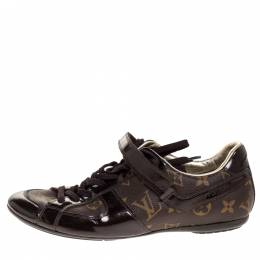 Louis Vuitton Brown Patent Leather And Monogram Canvas Lace Up Sneakers Size 38 316305