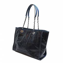 Chanel Navy Blue Leather Large Deauville Tote Bag 317959