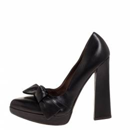 MARNI Black Leather Bow Pointed Toe Platform Pumps Size 40.5 317228