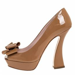 Miu Miu Beige Patent Leather Bow Peep Toe Platform Pumps Size 38 315954