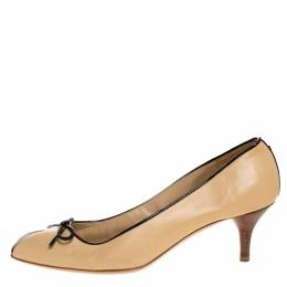 Chanel Beige/Black Leather Bow Pumps Size 38.5 318162
