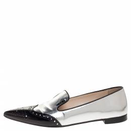 Prada Silver/Black Brogue Leather Pointed Toe Smoking Slippers Size 37 317117