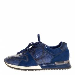Louis Vuitton Blue Python, Pony Hair and Suede Run Away Lace Up Sneakers Size 36.5 316399