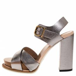 Tod's Silver Leather Platform Ankle Strap Sandals Size 37 315276