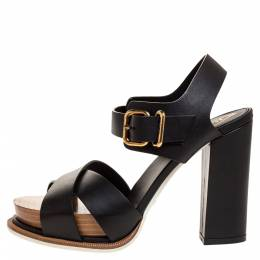 Tod's Black Leather Platform Ankle Strap Sandals Size 36.5 315272