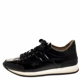 Hermes Black Patent Leather Quick Sneakers Size 37.5 314352
