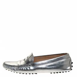 Tod's Metallic Silver Leather Penny Slip On Loafers Size 38 314372