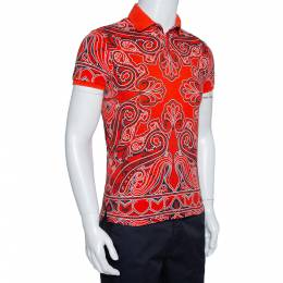 Etro Coral Red Bandana Paisley Print Cotton Pique Polo T Shirt S 315592