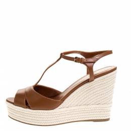 Sergio Rossi Brown Leather Wedge Espadrille Ankle Strap Sandals Size 39 312811
