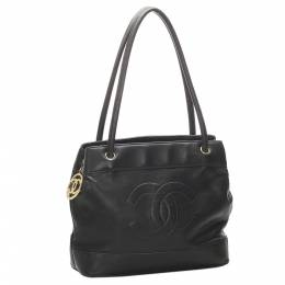 Chanel Black CC Lambskin Leather Tote Bag 314150